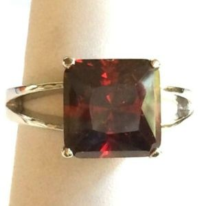 Silver Garnet Ruby Cocktail Ring Size 8 9 Red CZ